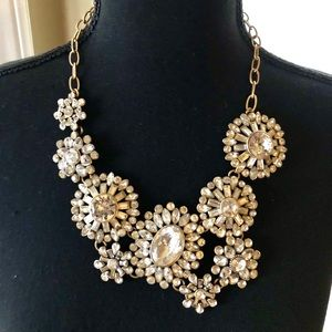 J. Crew Statement Necklace Crystal Flowers 🌸